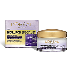 Crema de noapte antirid hidratanta pentru volumul tenului, L'Oreal Paris Hyaluron Specialist, 50ml