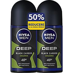 Deodorant roll-on Nivea Men Deep Amazonia, 1+1-50% gratis, 2x50ml