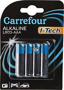 Set x 4 baterii LR03 AAA I-Tech, Carrefour