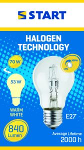 Bec halogen Eco 53W E27, Start