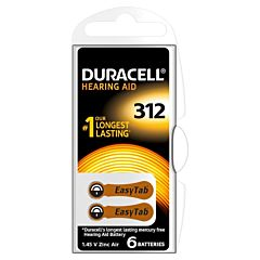 Set x 6 baterii pentru aparat auditiv HA ZA 312, Duracell