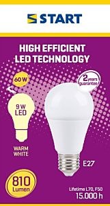 Bec LED mat cald A 9W E27, Start