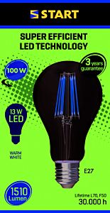 Bec LED filament cald A 13W E27, Start