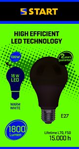 Bec LED mat cald A 18W E27,  Start