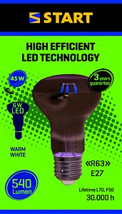 Bec LED filament reflector R63 6W E27, Start