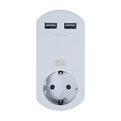 Adaptor priza Smart cu USB charger dublu integrat 10A/230 V, IP20