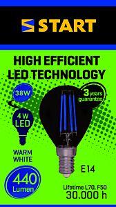 Bec LED clar 38W E14 lumina calda, Start