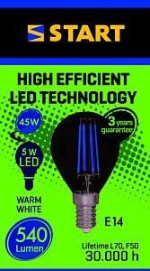 Bec LED clar 45W E14 lumina calda, Start