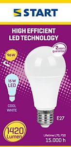 Bec LED mat A15W lumina rece, Start