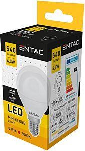 Bec LED mini glob Entac , E14, 6.5W, 540 lumeni