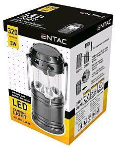 Felinar camping Entac, LED, port USB, acumulator inclus, incarcare solara, 3W, 320 lumeni