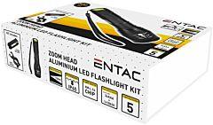 Lanterna cu suport montare bicicleta LED ENTAC, aluminiu, 5W, suport baterii AAA(R03)incluse