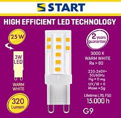 Becul LED G9 Start, 3 W, 3000 K, 300 lm