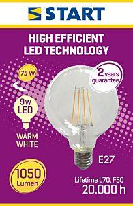Bec filament interior LED CLAR Globe G95 Start, 9 W, E27, 1050 lm