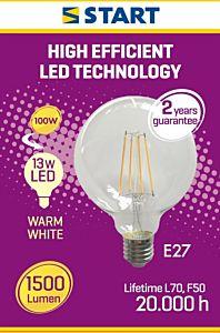Bec filament LED CLAR Globe G12 5 Start, 13W, E27, 1500lm