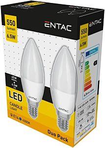 Set 2 becuri LED tip lumanare Entac, E14, 6.5W, 550 lumeni
