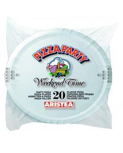 Set 20 farfurii albe pentru pizza, Aristea, 31 cm