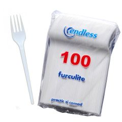 Set 100 furculite de unica folosinta, plastic, alb