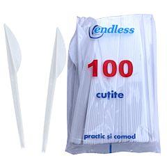 Set 100 cutite de unica folosinta, plastic, alb