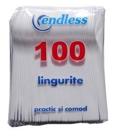 Set 100 lingurite de unica folosinta, plastic, alb