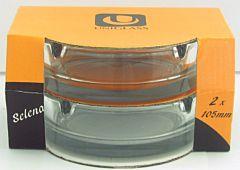 Set 2 scrumiere Selena Uniglass, sticla, 10.5 cm, Transparent