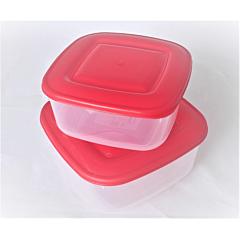 Set 2 caserole patrate, cu capac rosu, capacitate 1.5L, 0.95L, Cyclops