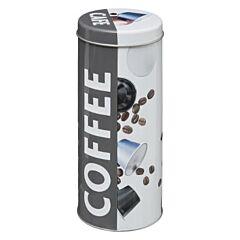 Cutie metalica pentru depozitare cafea 7.6x17.8 cm, gri/alb
