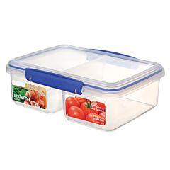 Cutie dreptunghiulara pentru alimente Klip-It Sistema, cu capac, 2 compartimente, plastic, 2L, Transparent