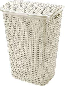 Cos depozitare rufe 55L Rattan My Style, 42.8 x 60.4 x 33 cm, plastic, culoare alb, CURVER