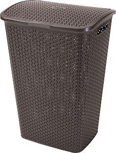 Cos depozitare rufe 55L Rattan My Style, 42.8 x 60.4 x 33 cm, plastic, culoare maro, CURVER