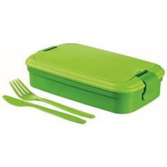 Cutie alimente 1,3L cu tacamuri, forma dreptunghiulara, plastic, culoare verde, Lunch&Go, CURVER