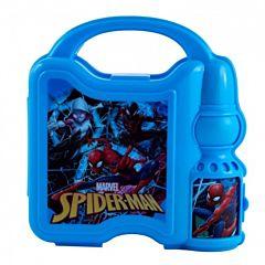 Cutie sandwich cu sticla pentru apa Spiderman, plastic, Multicolor