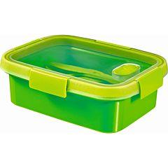 Cutie alimente 1,0L cu tacamuri, forma dreptunghiulara, plastic, verde, SMART TO GO, CURVER