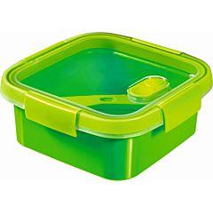 Cutie alimente 0,9L cu tacamuri, forma patrata, plastic, verde, SMART TO GO, CURVER
