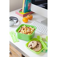 LUNCH KIT Cutie alimente 1,1L cu tacamuri, forma patrata, plastic, verde, SMART TO GO LUNCH KIT, CURVER