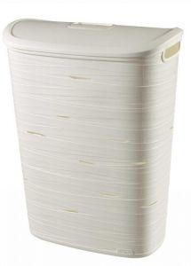 Cos depozitare rufe 49L model Ribbon, 45.7x59x27.3cm, plastic, culoare alb, Curver