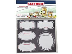 Etichete decorative pentru borcan Leifheit, hartie, Alb/Negru