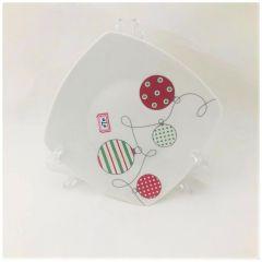 Farfurie patrata design globuri, 20 cm, portelan