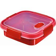 Cutie alimente 0,6L patrata pentru microunde, folosire diversa, plastic, rosu, MICRO-WAVE, CURVER