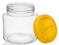 Borcan plastic, capac cu maner 1 L