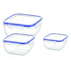 Set 3 cutii alimentare Cook&Lock, 500/900/1500 ml, 17.5x17.5x9 cm, Transparent