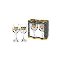 Set 2 pahare vin Mrs+Mr, negru-auriu