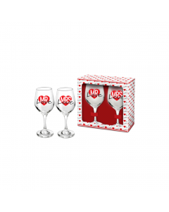 Set 2 pahare vin Mrs+Mr Love