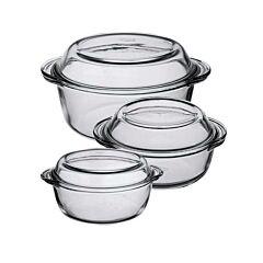 Set 3 vase termorezistente cu capac, Pasabahce