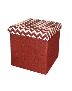 Taburet pliabil textil cu spatiu de depozitare Rosu