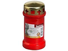 Candela din plastic Bolsius cu capac  metalic BO Nr. 3 CAP Rosu