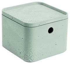 Cutie depozitare multifunctionala cu capac XS, model BETON, plastic, gri, CURVER