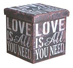 Taburet pliabil Love, cu spatiu depozitare, 38x38x37.5cm, PVC/MDF, Multicolor