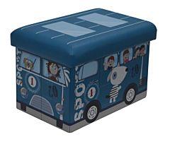 Taburet pliabil pentru copii, cu spatiu de depozitare, 38x25x24.5 cm, PVC/MDF, Albastru