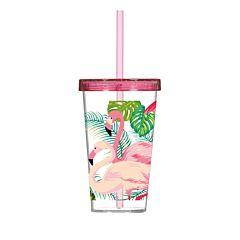 Pahar cu capac si pai 600 ml, Flamingo